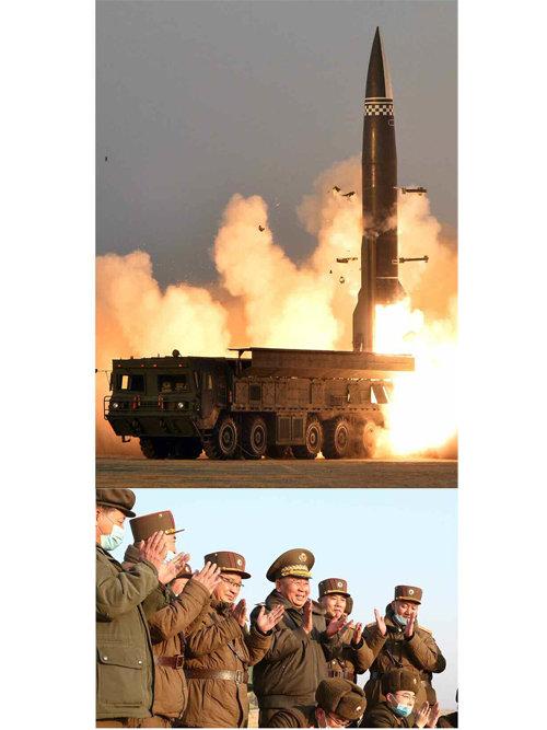 3월 26일 북한 노동당 기관지 '노동신문'은 전날 발사한 단거리 탄도미사일 추정 발사체에 대해 '신형전술유도탄'이라 밝히면서 관련 사진을 공개했다. [평양 노동신문=뉴스1]