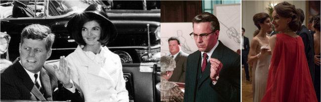 존 F 케네디와 재클린 부부, 영화 'JFK' 스틸컷, 영화 '재키' 스틸컷(왼쪽부터). [GettyImage, Warner Bros 제공, Fox Searchlight Pictures 제공]