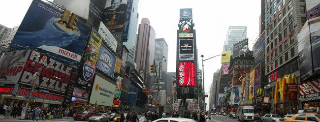 2004년 11월 뉴욕 맨해튼 타임스퀘어 광장 옥외광고에 등장한 삼성 광고. [위키피디아]