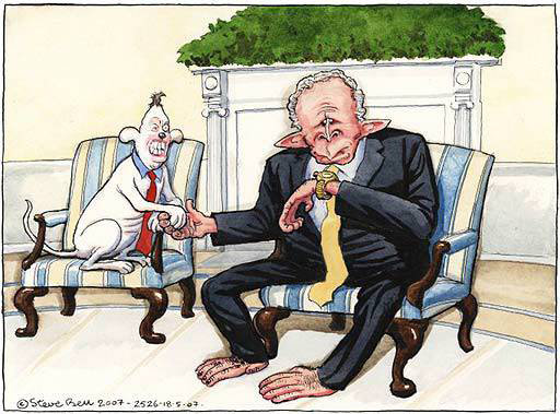지난 2007년 5월 영국 일간지 가디언에 게재된 만평. '바빠 죽겠는데…'라는 표정을 짓고 있는 조지 W 부시 당시 미국 대통령의 손목을 붙잡고 있는 토니 블레어 전 영국 총리를 풍자했다. [가디언 인터넷판]