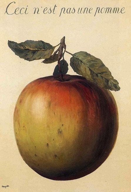 벨기에 출신의 화가 르네 마그리트(1898~1967)가 그린 '이것은 사과가 아니다'(1964). [Rene Magritte]