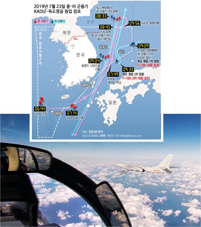 지난해 12월 23일 러시아 국방부가 공개한 영상. 중국군 훙(H)-6K 폭격기가 서태평양 상공을 비행하고 있다. [뉴시스, AP=뉴시스]