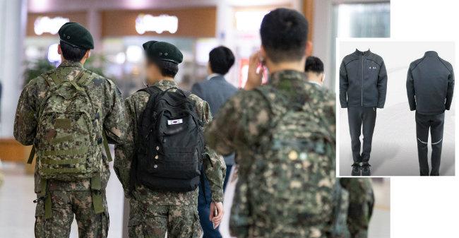 5월 10일 서울역에서 군 장병들이 발걸음을 옮기고 있다(왼쪽). 현재 군에서 장병들이 입고 있는 운동복. [뉴스1, SBS뉴스 화면 캡쳐]