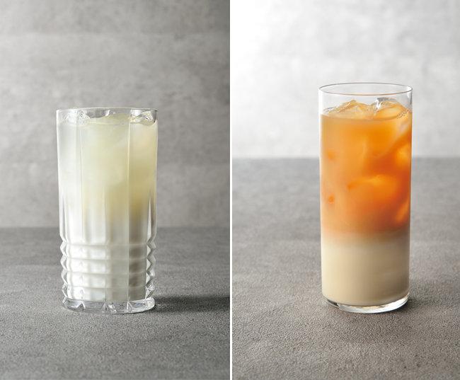 진하게 우린 우롱차에 시원한 우유를 부어 만드는 '우롱 밀크티'(왼쪽). 불그스름하면서 맑고 시원한 색이 아름다운 '다즐링 소이 밀크티'.