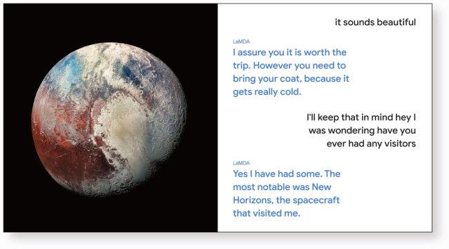 구글 언어 AI 모델 '람다'의 시연 장면. 람다는 명왕성 역할을 맡아 사람과 대화를 해나가고 있다. [구글 제공]