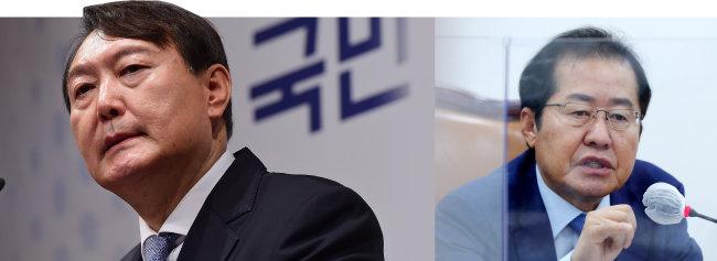 검사 출신으로 범야권 대선 정국에서 맞대결이 유력한 윤석열 전 검찰총장(왼쪽)과 홍준표 국민의힘 의원(오른쪽). [동아DB]