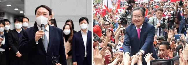 3월 4일 사의를 표명한 윤석열 당시 검찰총장(왼쪽). 2017년 5월 8일 홍준표 당시 자유한국당 대선 후보가 대구 유세에서 지지자들의 손을 잡는 모습. [동아DB]