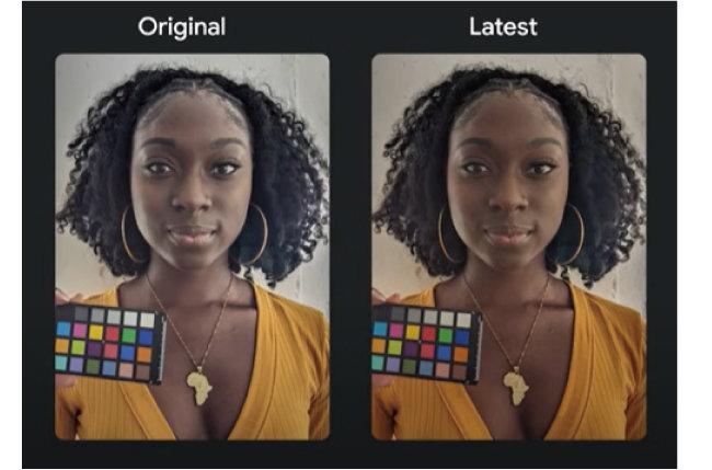 구글이 5월 개발자회의(I/0)에서 발표한 '픽셀' 카메라 자동 보정 기능. 자동 보정 기능을 사용하면 얼굴을 인위적으로 밝게 만드는 현상이 사라진다. [Google I/O 유튜브 캡처]