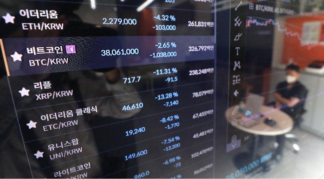 6월 22일 서울 강남구 '빗썸' 고객센터에 암호화폐 시세가 표시되고 있다. 6월 20일 중국 정부가 비트코인 채굴장의 90%를 폐쇄했다는 '중국 글로벌타임스' 보도가 나오며 비트코인 가격은 다음 날 8% 넘게 급락했다. [뉴스1]