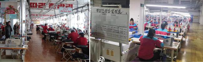 북한 평양에 있는 봉제공장 풍경. 북한은 세계에서 노동력이 가장 저렴한 섬유제품 생산지로 유명하다(왼쪽). 2020년 5월 촬영한 중국 단둥의 한 봉제공장. 북한 노동자들이 일하고 있다. [김승재 제공]