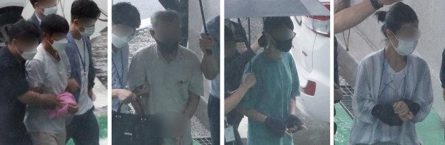 북한 공작원 지령을 받고 미국 스텔스 전투기 F-35A 도입 반대 활동을 벌인 혐의를 받는 청주지역 시민단체 활동가들이 8월 2일 구속 전 피의자 심문 받기을 위해 청주지법으로 들어서고 있다. [뉴스1]