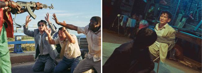 김윤석과 조인성이 주연한 영화 '모가디슈'(왼쪽)와 황정민의 연기력이 돋보이는 영화 '인질' 스틸컷. [롯데엔터테인먼트 제공, NEW 제공]