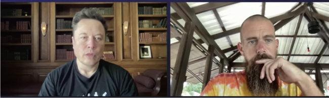 '더비워드(The B Word) 콘퍼런스'에 참여한 일론 머스크 테슬라 CEO(왼쪽)와 잭 도시 스퀘어 CEO. [ARK Invest 유튜브 캡처]
