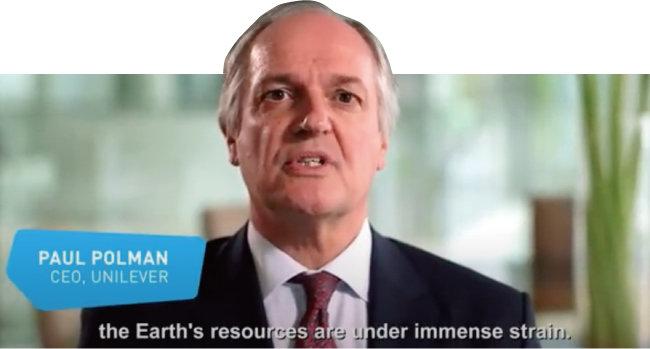 2014년 폴 폴먼 당시 유니레버 최고경영자가 '유니레버 지속가능한 삶 계획(Unilever Sustainable Living Plan)'을 발표하고 있다. [유니레버 유튜브 캡처]