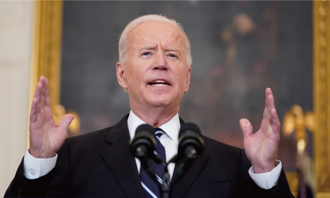 조 바이든 미국 대통령은 9월 9일(현지 시간) 백악관에서 코로나19 백신접종 의무화 조치 등이 포함된 코로나19 새 대응 전략을 발표했다. [뉴시스]