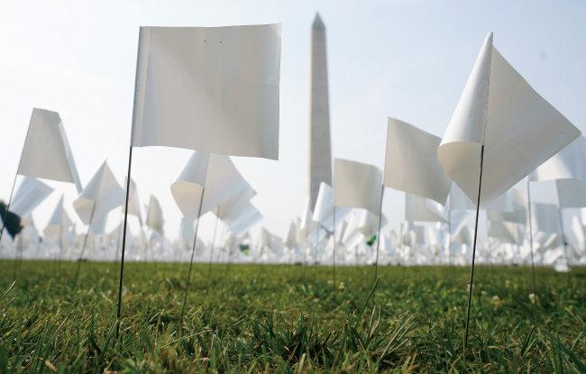 9월 14일(현지시간) 미국 워싱턴D.C. 내셔널 몰에 설치된 코로나19 사망자 추모 작품 '인 아메리카: 리멤버(In America: Remember)'. [뉴시스]