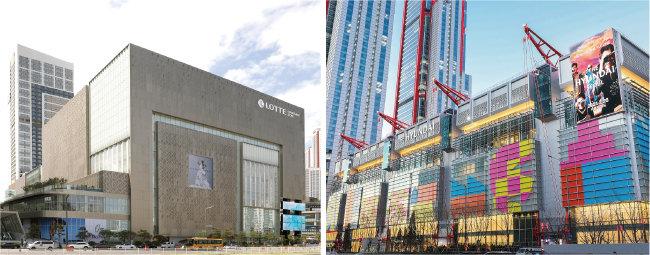 최근 백화점 업계는 초대형화 전략에 발맞춰 신규 매장을 개장하고 있다. 롯데백화점 동탄점(왼쪽), 더현대 서울. [롯데백화점 제공, 더현대 제공]
