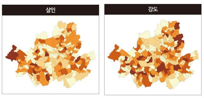 살인, 강도 등 주요 범죄 발생 빈도를 서울시 행정동 단위로 분석한 지도. 색이 진할수록 해당 범죄가 자주 발생한 것을 의미한다. [장현석 교수 제공]