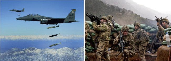 미국의 아프가니스탄 침공 당시 폭격하는 전투기(왼쪽)와 미군 모습. [위키피디아]