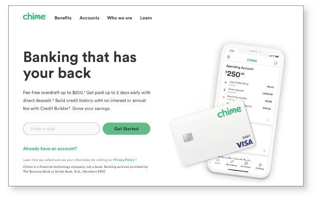 """차임 홈페이지 왼쪽 하단에 """"차임은 핀테크 회사이며, 은행이 아닙니다(Chime is a financial technology company, not a bank)""""라는 문구가 쓰여 있다. [차임 홈페이지 캡처]"""