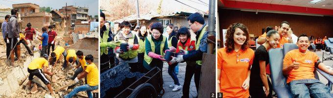1. 지진 피해지역에서 복구작업 중인 네팔 현지의 국제위러브유운동본부 회원들   2. 어려운 이웃들의 따뜻한 겨울나기를 위한 연탄 지원  3. 미국 오클라호마시티에서 개최한 헌혈하나둘운동