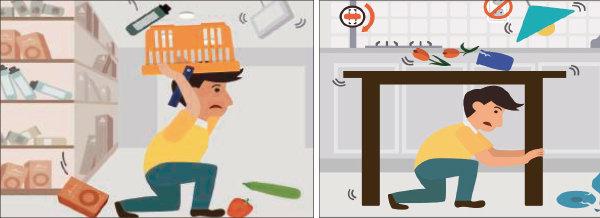 지진으로 건물이 흔들리면 낙하물이나 창유리 파편 등에 머리를 다치지 않도록 주의하면서 대피로를 확보하는 게 중요하다.[9·12 지진 백서]
