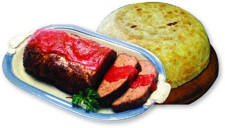 작은북처럼 크게 만든 팀발로(오른쪽)와 부드러운 고기 요리 미트로프.[위키피디아]