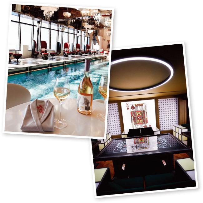 실내수영장과 바가 어우러진 독특한 분위기의 31층 라운지바 '킹스베케이션'(왼쪽)과 카드 게임을 테마로 한 33층 '스파이 앤파티 룸'.[홍중식 기자]