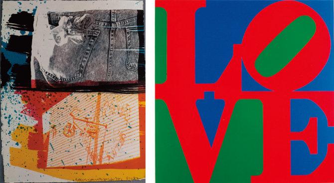 로버트 라우션버그의 '축제'(1991~92), 로버트 인디애나의 'LOVE'(2002)(왼쪽부터)