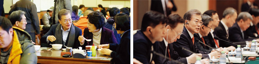 문재인 대통령과 부인 김정숙 여사가 12월 14일 중국 베이징의 현지식당에서 아침 식사를 하고 있다(왼쪽). 중국을 국빈 방문한 문재인 대통령이 13일 오후 중국 베이징 댜오위타이(조어대)에서 열린 한중 비즈니스 라운드테이블에 참석해 발언하고 있다. [뉴시스]