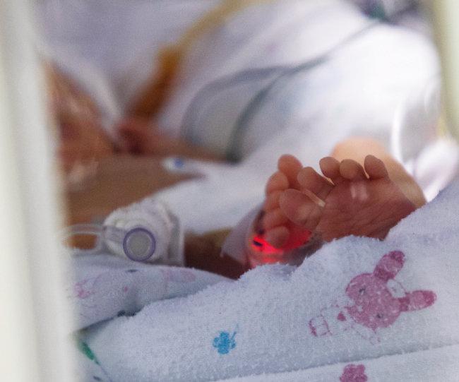 서울대 어린이병원 NICU에 입원해 있는 신생아 환자. [조영철 기자]