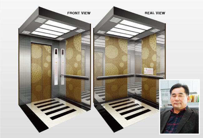 신소재 큐브메탈을 사용한 한진엘리베이터 제품의 내부 모습(왼쪽)과 박갑용 대표.