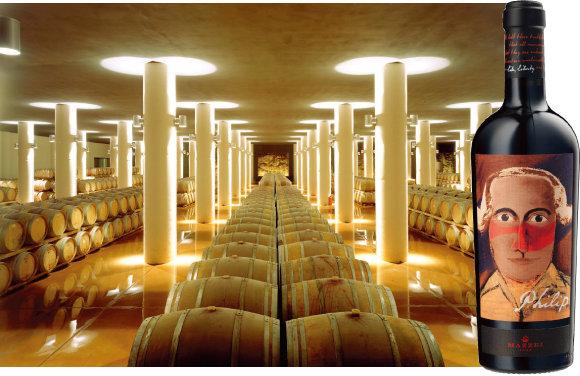 필립 와인이 숙성되고 있는 셀러(왼쪽)와 필립 와인. [사진 제공 · ㈜하이트진로]