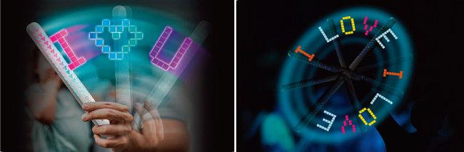 잔상 효과를 이용해 허공에 글자나 모양을 만들어내는 LED 스틱 '망고스틴 스윙'.