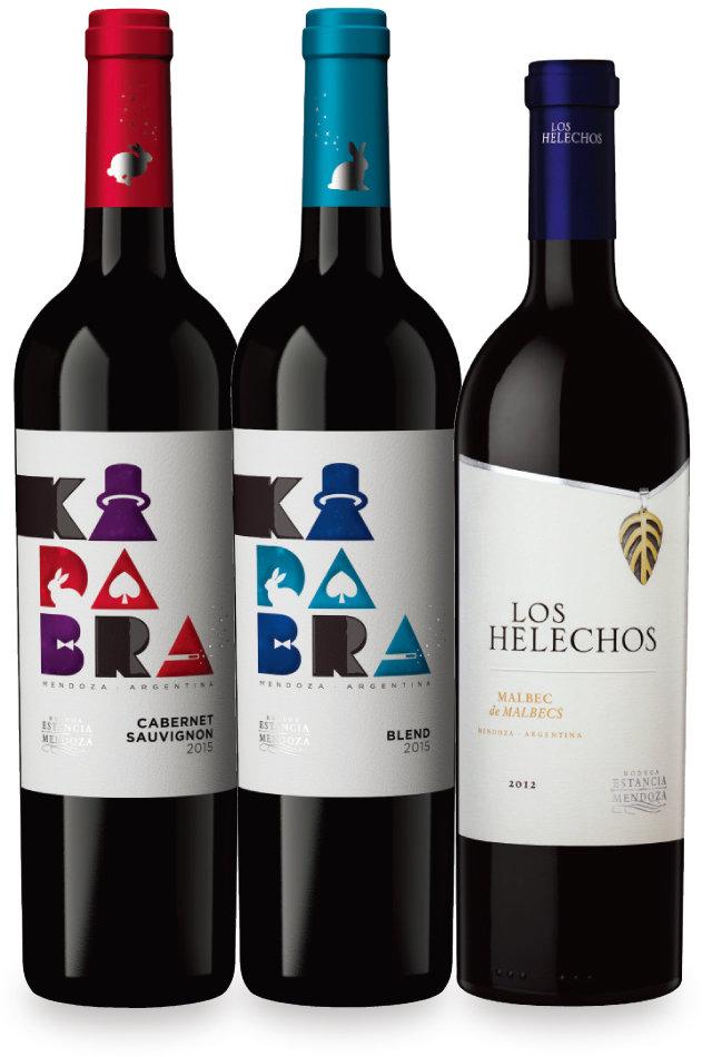 카다브라 카베르네 소비뇽, 카다브라 블렌드 와인, 로스 헬레초스 와인(왼쪽부터). [사진 제공 · 비나데이스코리아]