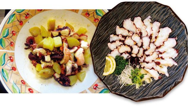 삶은 감자를 섞어 만드는 문어샐러드(왼쪽)와 문어숙회.