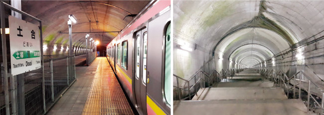 일본 군마현 도아이역 하행선 승강장(왼쪽)은 지하 300m에 위치해 있다. 여기서 지상으로 가려면 486개 계단을 올라가야 한다. [김범석 기자]
