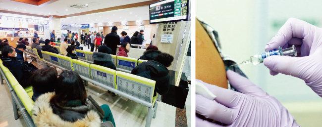 1월 4일 울산 한 병원에 진료를 받으러 온 환자들(왼쪽)과 독감 예방주사를 맞는 모습. [뉴스1]