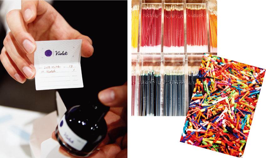 완성된 잉크 컬러는 잉크랩에 등록돼 언제든 재구매할 수 있다.(왼쪽) 잉크를 포장하는 동안 둘러본 제품존과 DIY로 만드는 153 볼펜.