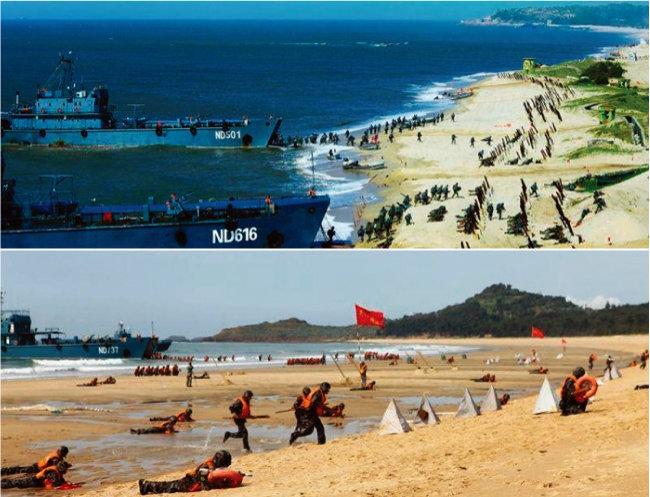 최근 산둥반도에서 '한반도 출동' 상륙훈련을 실시한 중국 해병대. [뉴시스]
