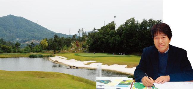 충북 충주 동촌골프클럽(왼쪽)과 이 골프장을 설계한 송호 대표. [사진 제공·김맹녕]