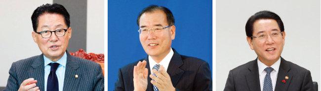 박지원 민주평화당 의원, 이개호 민주당 의원, 김영록 농림축산식품부 장관.(왼쪽부터) [동아일보, 뉴시스]