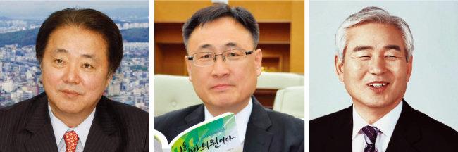 한범덕 전 시장, 이광희 충북도의원, 김병국 청주시의원.(왼쪽부터)