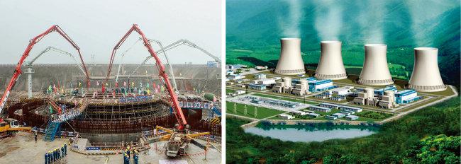중국이 광시좡족자치구 팡청강에서 원전을 건설할 때 모습. 중국이 내륙지역에는 처음 건설할 후난성 타오화장 원전의 조감도.(왼쪽부터) [CNNC, 사진 제공 · 차이나 데일리]