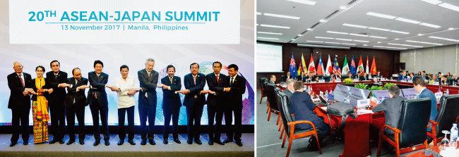 아베 신조 일본 총리(왼쪽에서 다섯 번째)가 아세안 10개국 정상들과 손을 맞잡고 있다(왼쪽). 일본, 캐나다 등 아시아·태평양지역 11개국 대표들이 CPTPP 협상을 벌이고 있는 모습. [사진 제공·필리핀 대통령궁]