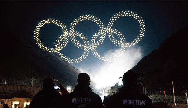 평창동계올림픽 개막식에서 선보인 드론 쇼. [동아일보]