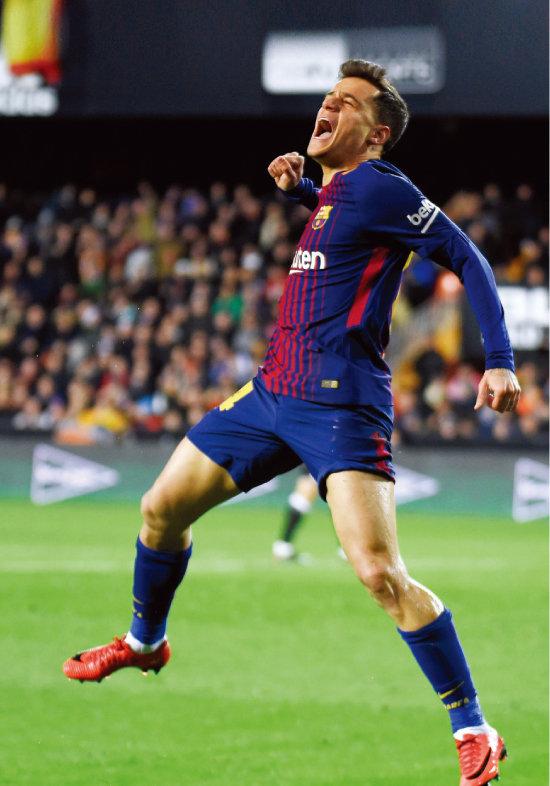 2월 9일 FC 바르셀로나로 이적한 후 첫 골을 넣고 기뻐하는 필리피 코치뉴. [뉴스1]