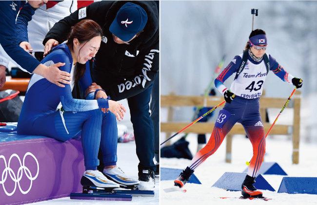 2월 18일 스피드스케이팅 여자 500m 경기를 마치고 눈물을 쏟는 빙속여제 이상화.(왼쪽) 바이애슬론 국가대표 문지희가 2월 10일  여자 스프린트 7.5㎞ 경기에서 설원을 가로지르고 있다.