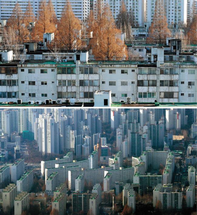 재건축 공사를 앞두고 이주 시점이 12월 이후로 확정된 서울 서초구 반포동 반포주공1단지(위). 서울 롯데월드타워 전망대에서 바라본 강남구 대치동 은마아파트. 새 학기 봄 이사철임에도 전세가가 소폭 하락 조정됐다. [뉴시스]
