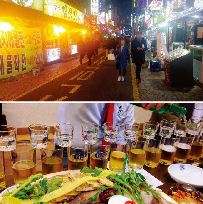 3월 13일 서울 신촌역 인근 번화가 모습. 술에 취해 있는 대학생을 찾아보기 어려웠다(위). 과거 술자리 위주 회식의 한 모습. [동아DB]